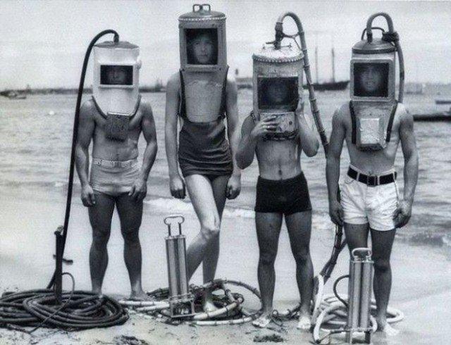 Оборудование дайверов в 1940-ых годах история, ретро, фотографии