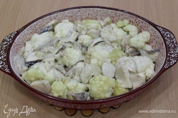 Гратен с цветной капустой и белыми грибами блюда с грибами,овощные блюда