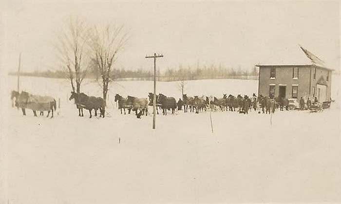 1909 год, 24 запряженные лошади перевозят двухэтажный дом зимой.