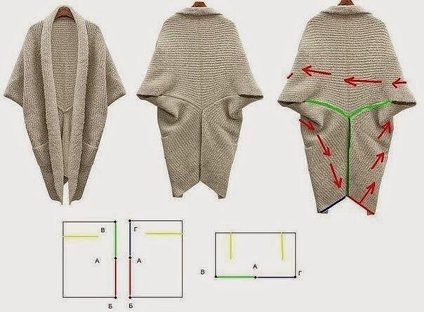 Интересная идея для любителей шитья. Простая, но эффектная накидка - пончо.