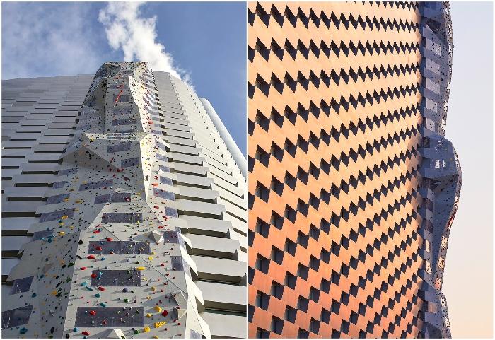 Одна грань сооружения центра активного отдыха включает в себя скалодром, который стал самым высоким в мире (Amager Bakke, Копенгаген). © Hufton + Crow.