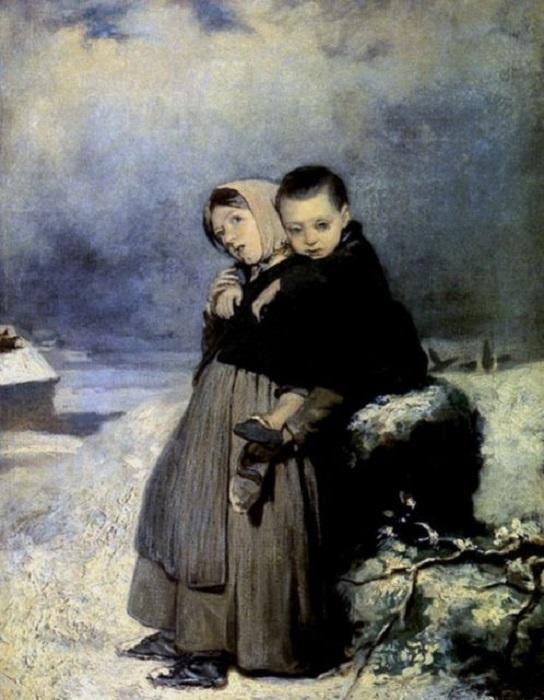Маленькие дети одиноко стоящие возле занесенной снегом могилы.