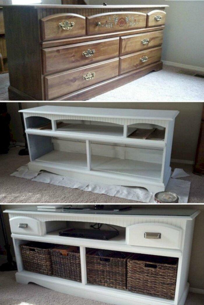 Комод, который получил вторую жизнь, превратившись в полку под телевизор до и после, идея, мебель, ремонт, своими руками, фантазия