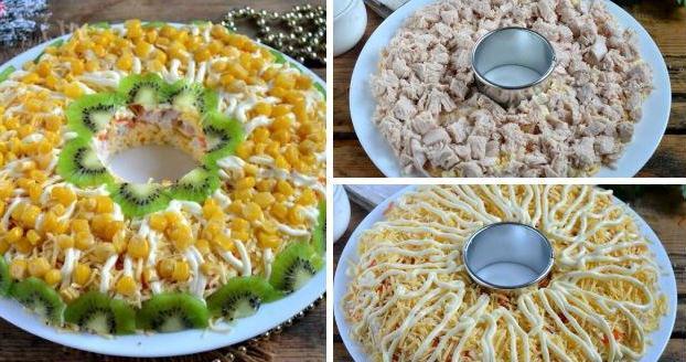 Салат с курицей к Новому году