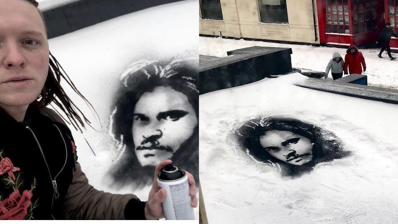 Английский художник не расстроился из-за циклона и стал рисовать картины на снегу