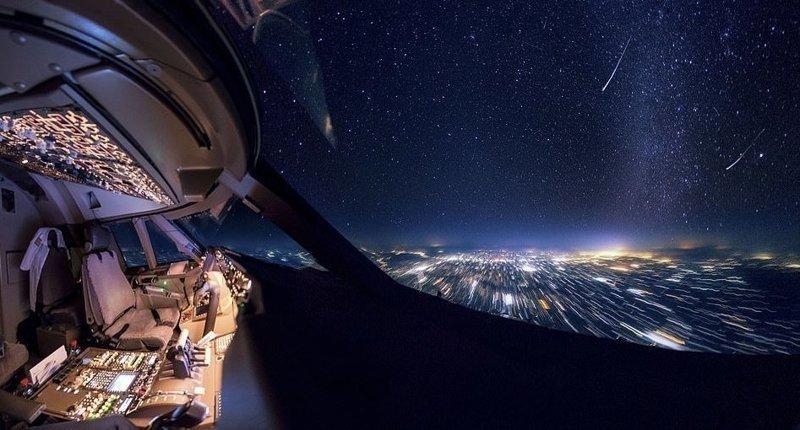 Нет ничего красивей ночного неба вид из кабины пилота, красиво, летчик, небо над нами, путешествия над Землей, фото из самолета, фотограф, фотографии