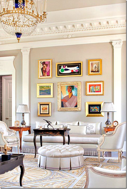 gold-frames-How-to-Hang-Artwork-Photo-Arranging-Ideas