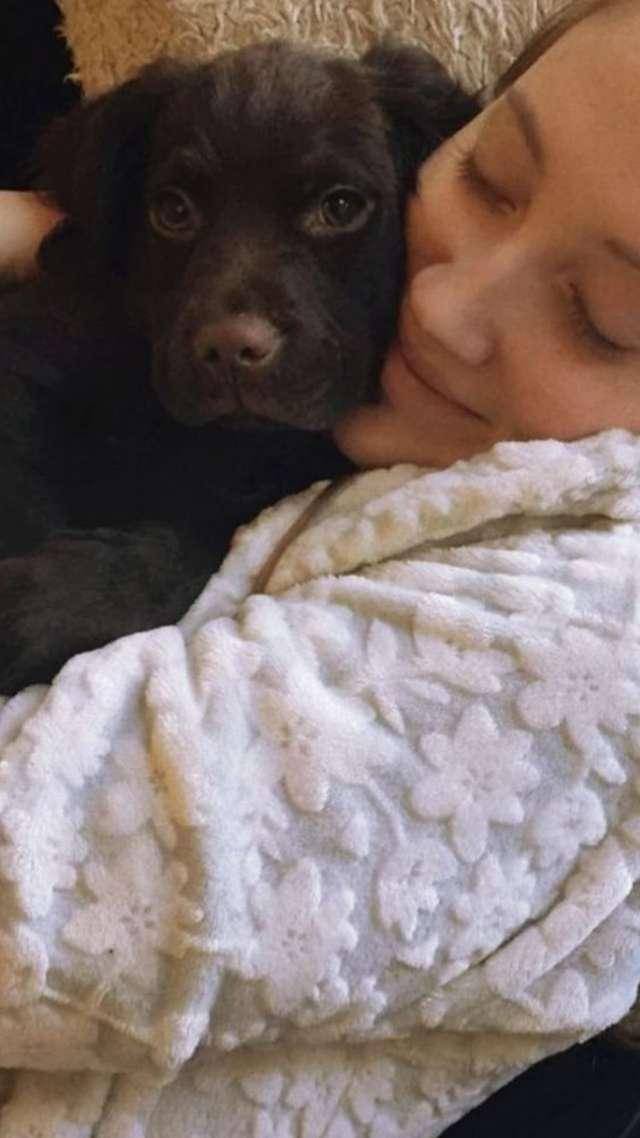 девушка обнимает пса
