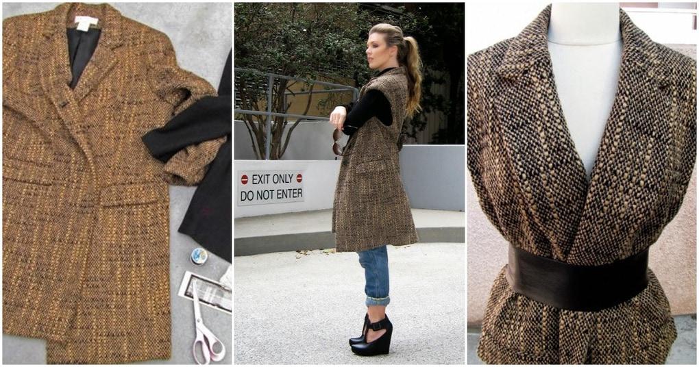 Простая переделка старого пальто в стильный жилет