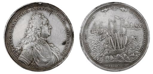 Медаль 1708 г.в честь Апраксина иего победы под Петербургом. <br>