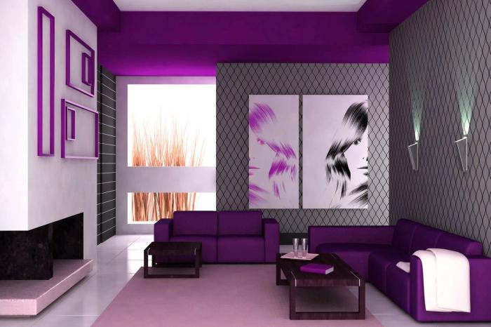 Универсальные фиолетовые оттенки идеально подходят для большинства стилевых направлений.