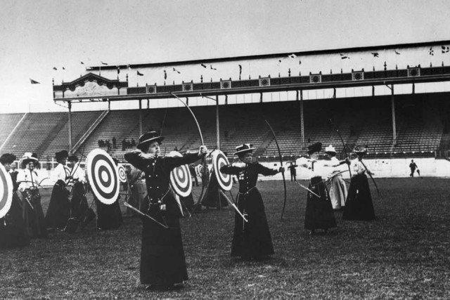 Женская стрельба из лука, 1908 год. Олимпийские игры в Лондоне. история, ретро, фотографии