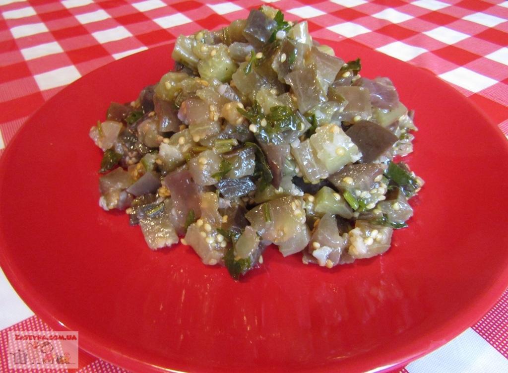Закуска из баклажанов с чесноком и зеленью