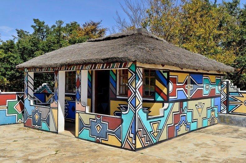 Причудливая расцветка домов Ндебелес Ндебелес, живопись, хижина, южная африка