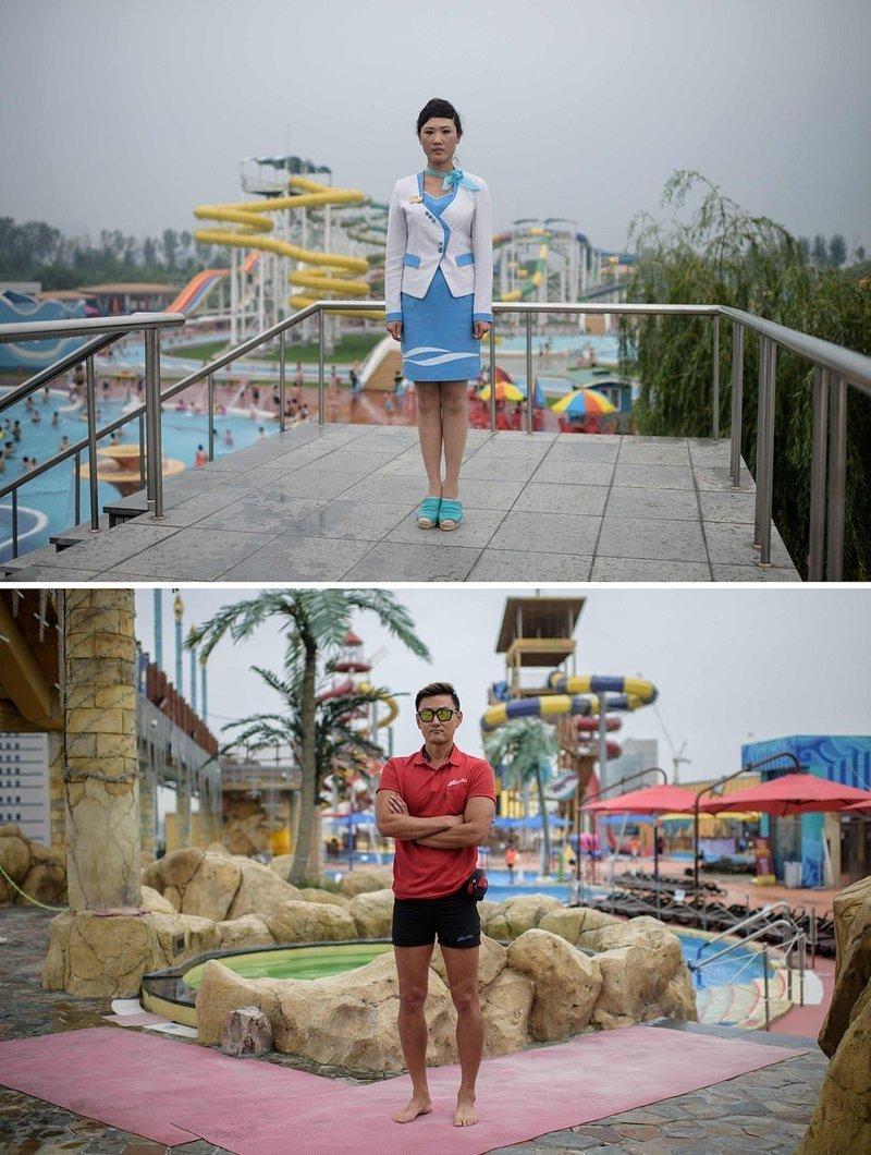 Вверху — портрет девушки в водном парке Мансу в Пхеньяне, внизу — портрет спасателя в водном парке в Илсан-гу, Южная Корея кндр, люди, северная корея, сравнение, страны, южная корея