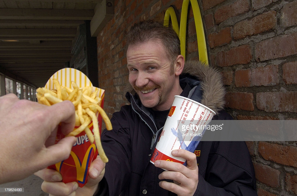 The 10th Annual U.S. Comedy Arts Festival - Super Size Me Star Morgan Spurlock at McDonalds : News Photo