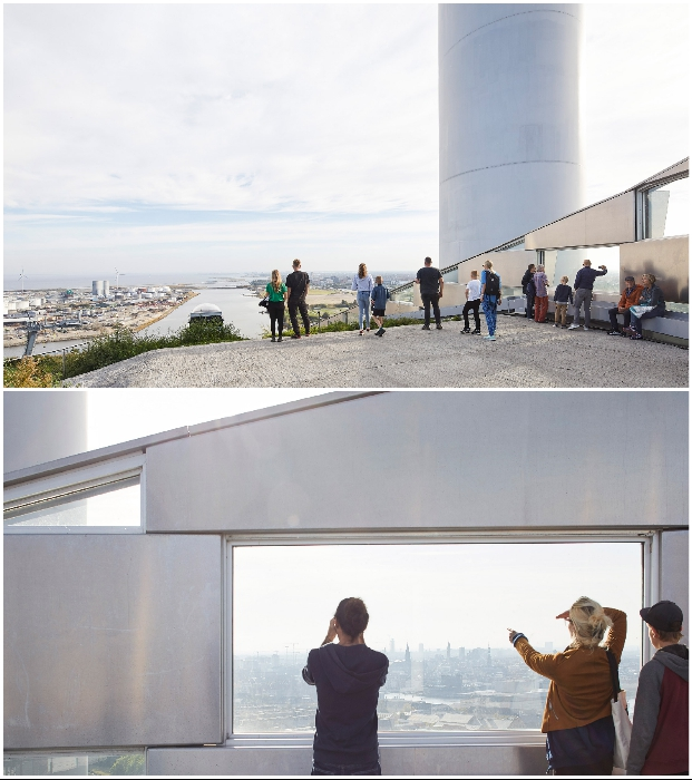 Вершину склона венчает смотровая площадка, откуда посетители могут любоваться панорамным видом на город (Amager Bakke, Копенгаген). © Hufton + Crow.