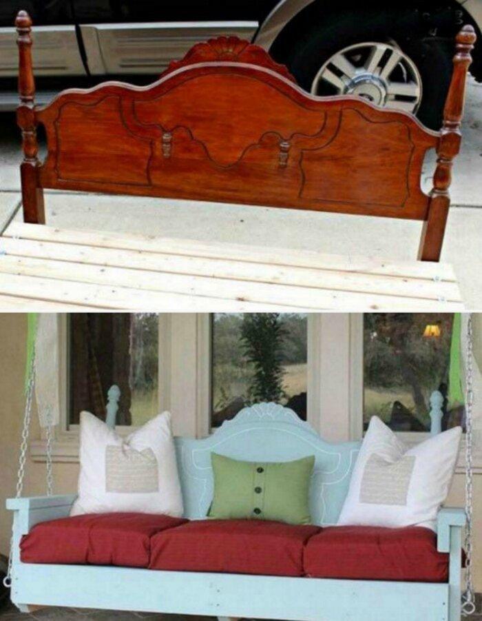 Используй деревянное изголовье старой кровати в качестве основы для качелей! до и после, идея, мебель, ремонт, своими руками, фантазия