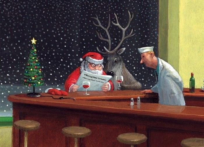 Новогодние карикатуры Герхарда Глюка