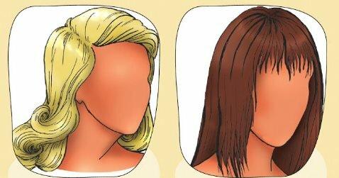 Классические прически для обладательниц длинной (слева) и короткой (справа) худой шеи