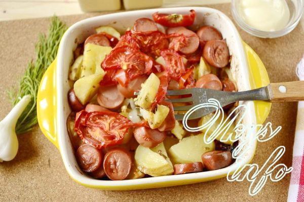 Картошка с сосисками и помид…