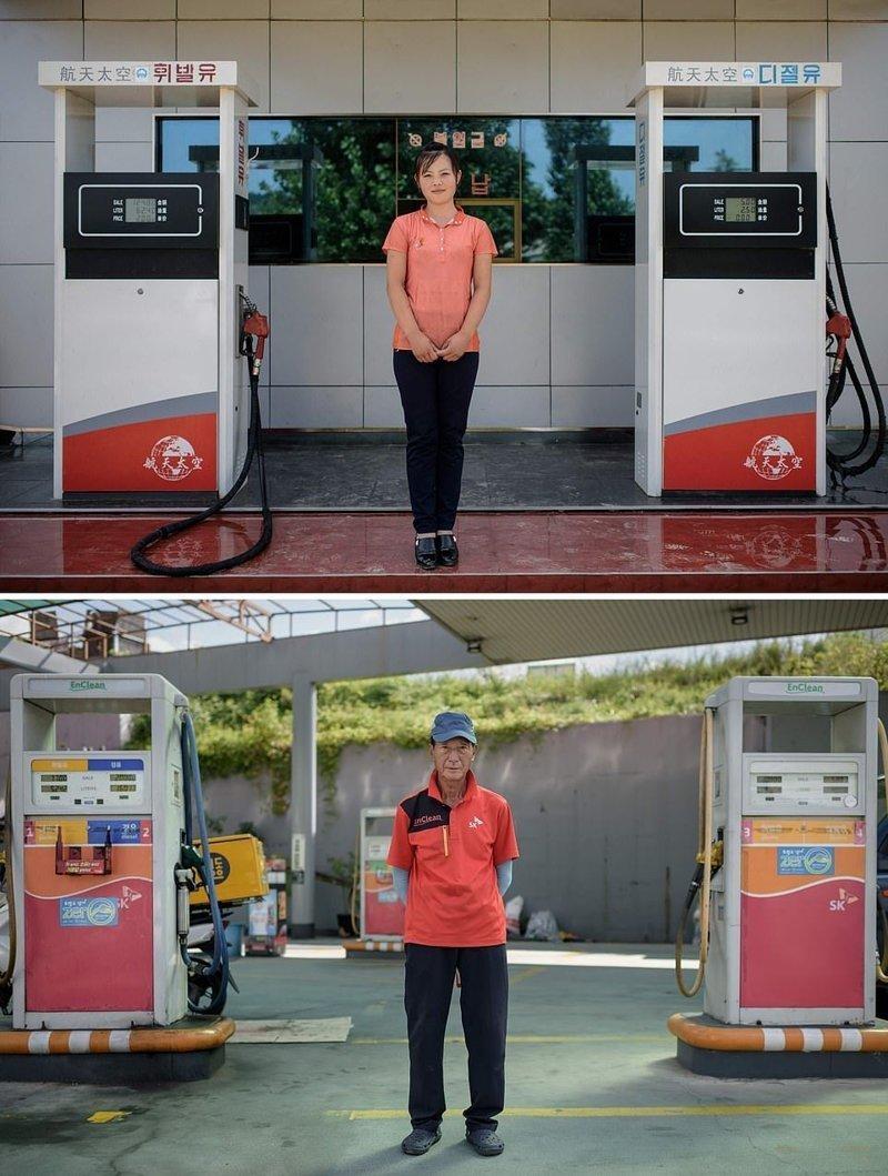 Вверху — 18-летняя работница заправочной станции, Северная Корея. Внизу — работник заправки, Южная Корея кндр, люди, северная корея, сравнение, страны, южная корея