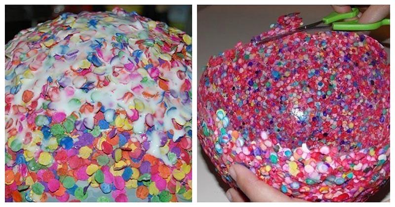 Любопытная идея для дома из бумажных конфетти, которую определённо стоит повторить