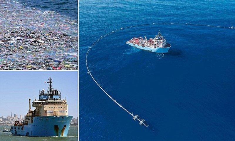 Гигантская очистная система приступила к чистке Тихого океана Ocean Cleanup, Боян Слат, гигантское мусорное пятно, очистка океана, очистная система, пластиковый мусор, экологические проблемы, экология