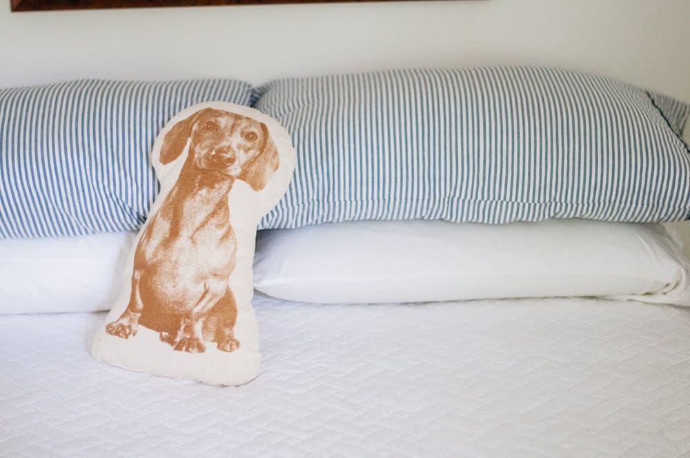 Элегантный интерьер спальни - оригинальная подушка с принтом таксы