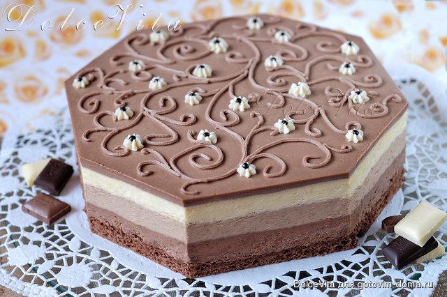 Торт три шоколада с фото