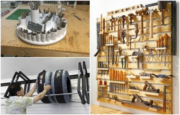 Практичные системы хранения для гаража или мастерской.