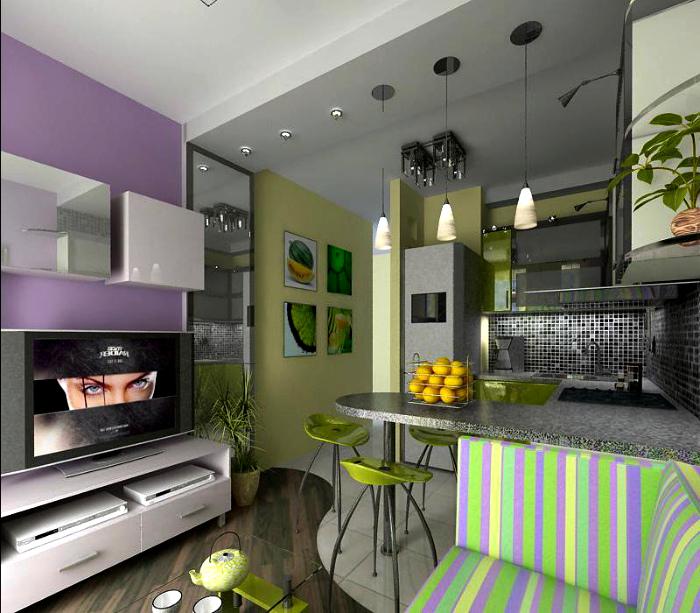 Яркое сочетание цветов в кухне-гостиной.