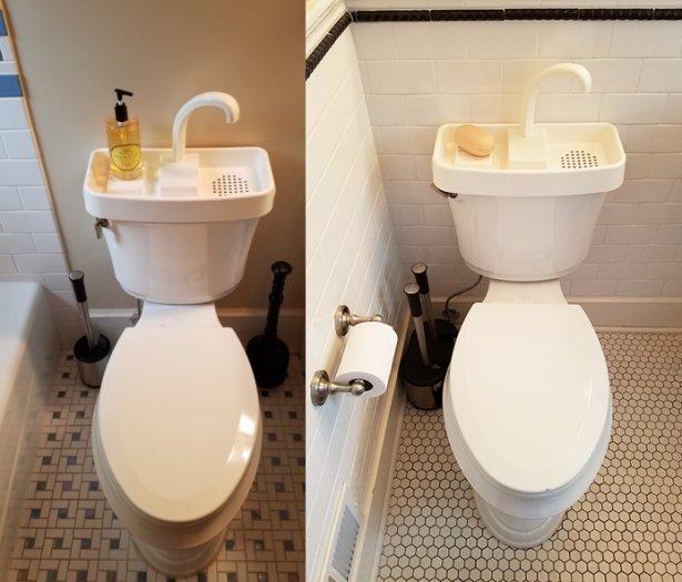 1. Унитаз с раковиной: возможность использовать воду дважды гениальные вещи, дизайн, идеи, интересно, просто и гениально, фото