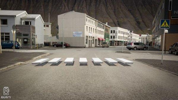 3D пешеходный переход в Исландии города, тихом, служить, уполномоченным, охране, окружающей, среды, Ральфом, Триллой, TryllaВласти, надеются, участок, дороги, будет, только, стритарт, привлекательным, произведением, уличного, искусство