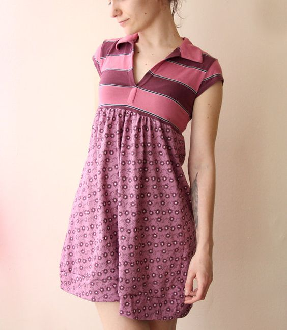 striped floral dress in purple shades refashioned by jiorji: