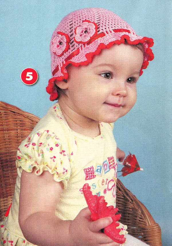 20 схем вязания летних детских шапочек, панамок и бандан крючком
