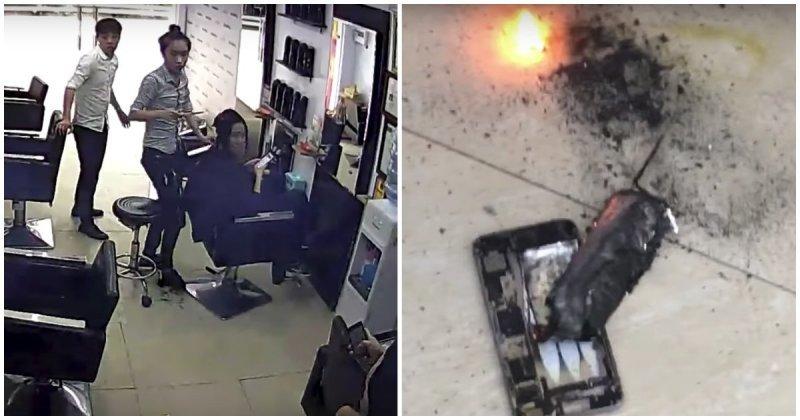 iPhone взорвался во время зарядки в парикмахерской Вьетнама iphone, Вьетнам, в мире, взрыв, видео, гаджет, парикмахерская
