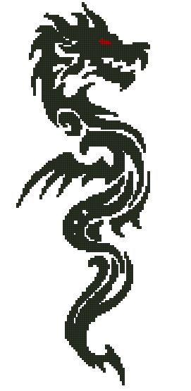 Дракон схема вышивки крестом