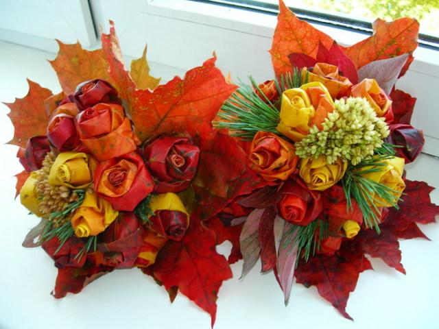 Розы из кленовых листьев - поделки своими руками