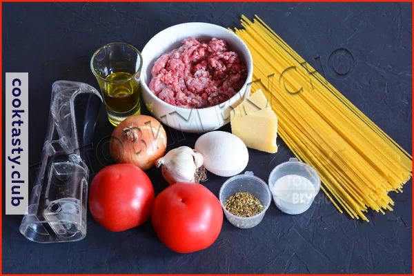 Спагетти в томатном соусе с чесноком и мясными шариками