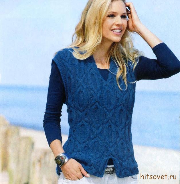 Модная модель женского жилета с красивым узором