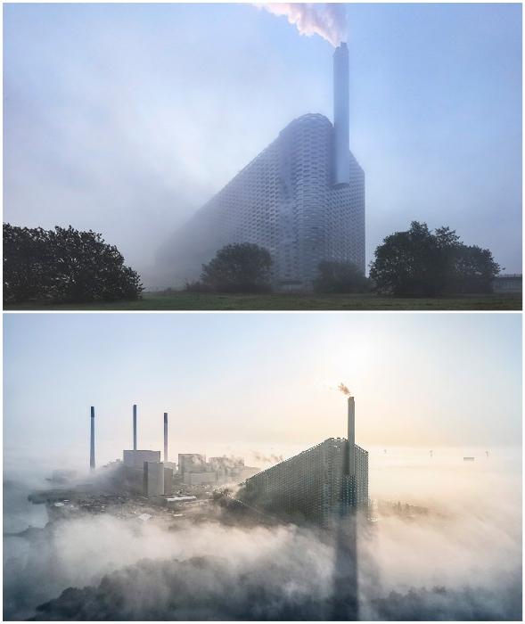 Многофункциональное промышленное предприятие Amager Bakke окутанно туманом, а не смогом, как многие подумали (Копенгаген). © Hufton + Crow.