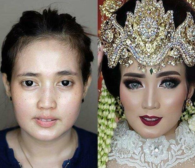 Азиатские невесты до и после агрессивного свадебного макияжа как будто разные люди