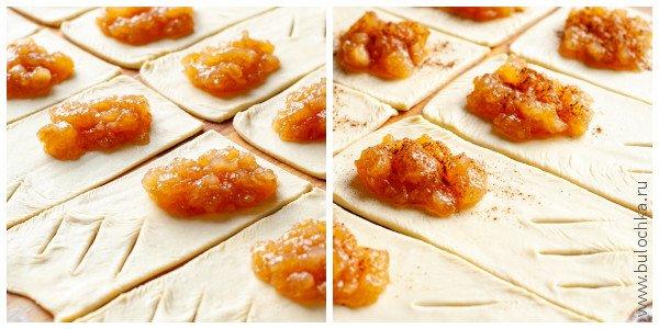 Слойки с яблочным вареньем сладкая выпечка