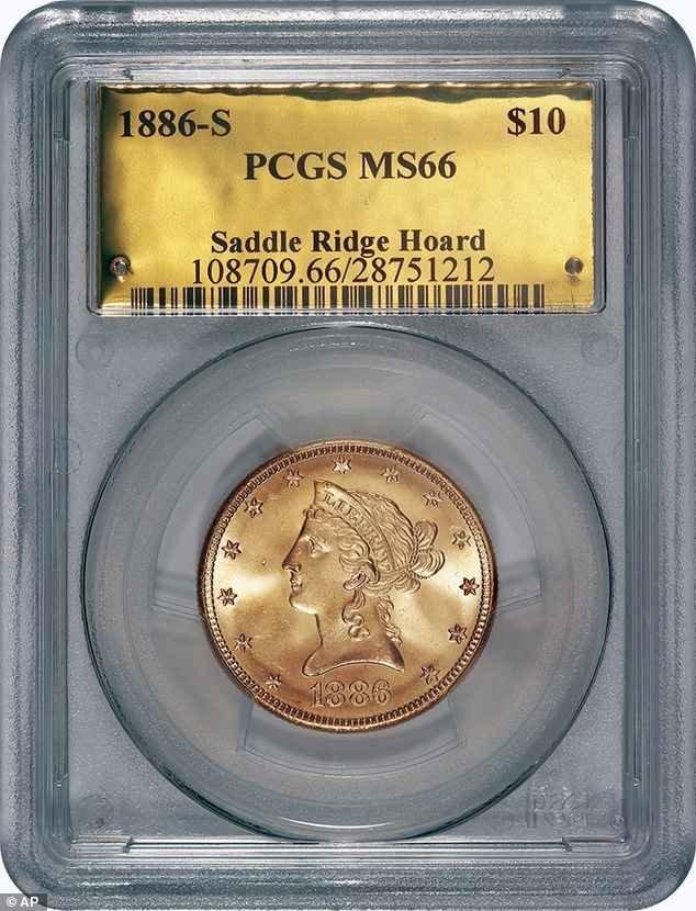Одна из монет клада - золотая монета 10$ Клады, интересно, история, сокровище