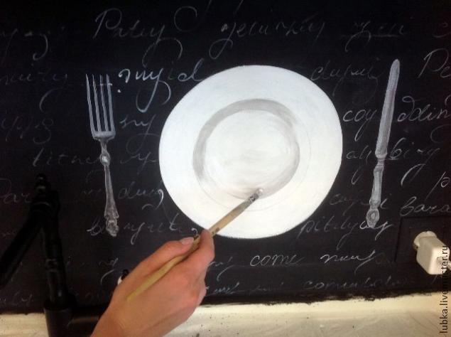 """Роспись скинали кухни """"Черно-белая графика"""""""