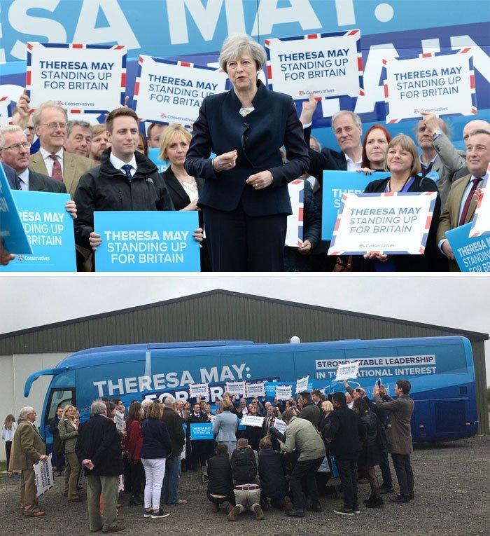 Лидер британских консерваторов Тереза Мэй на встрече с избирателями в Нортумберленде media, все дело в фокусе, манипулирование, новости наша профессия, познавательно, с какой стороны посмотреть, сми, фотографии