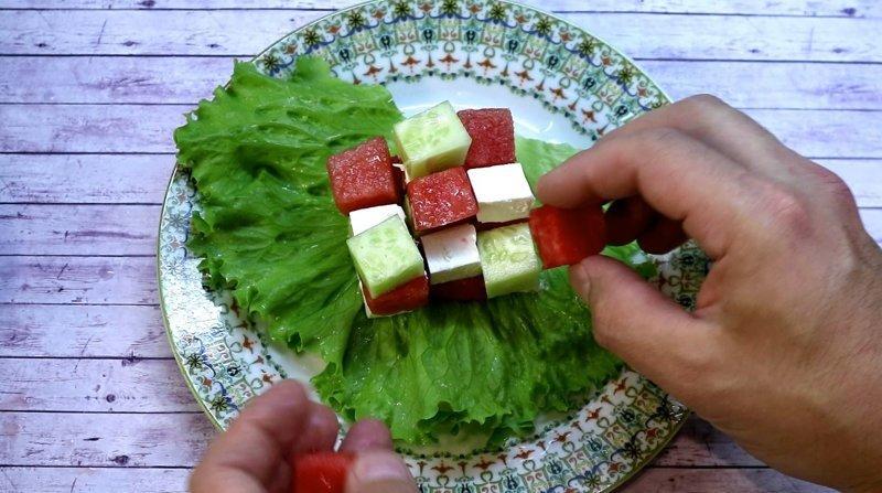 Арбузный куб. Невероятное сочетание арбуз, видео рецепт, еда, кулинария, рецепт, салат