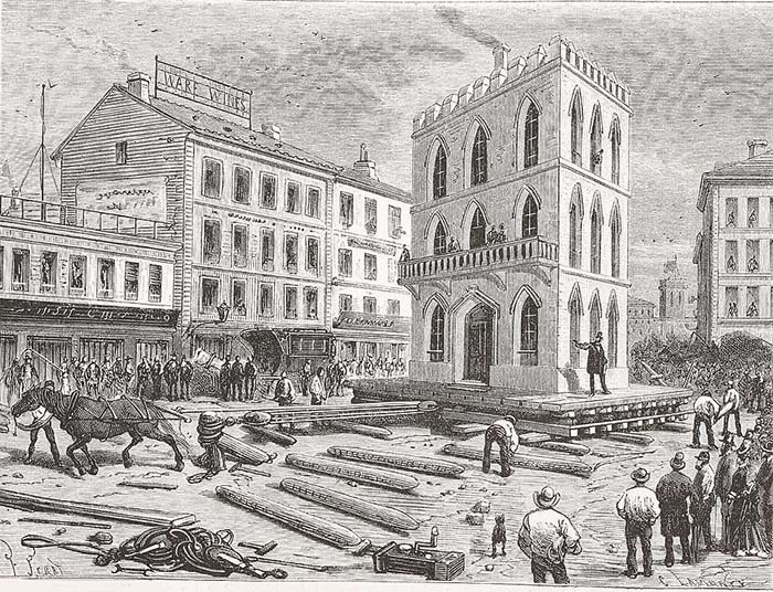 Гравюра 1877 года, изображающая передвижение трехэтажного дома с помощью лошади.