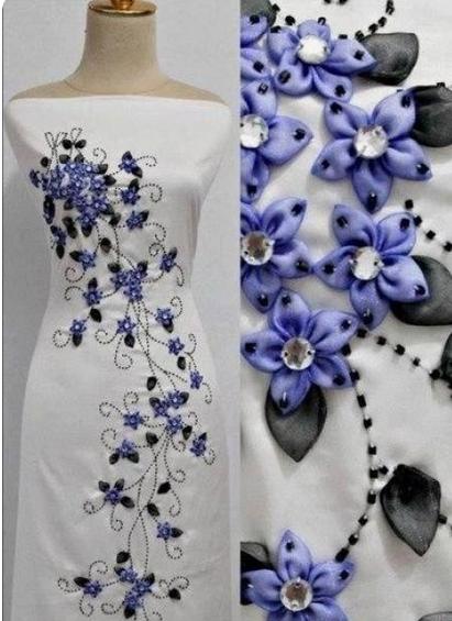 Вышивка лентами на одежде. Хоть и не практично, но как нежно и шикарно смотрится! handmake,вышивка,одежда